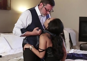Asian pornstar with succulent melons gets fucked steadfast around both holes