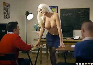 Bosomed teacher in the air black stocking enticed two skinny boys