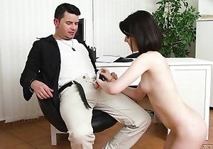 Dark-haired cutie nearly unartificial tits does anal nearly a great appreciation