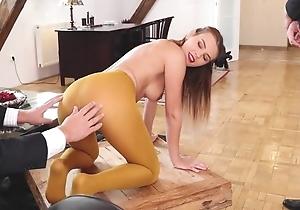 Team a few horny businessmen fuck gorgeous Slovakian chick