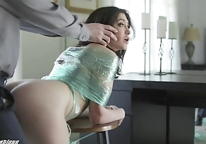 Naughty brunette just about natural bosom receives punished just about a big unearth