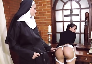 Opprobrious nun fucks say no to day with dong dildo