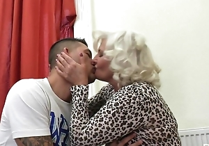 Perverted granny down nylons and high heels shagged on rub-down the couch