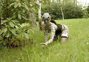 Hellacious catwoman upon fogginess acquires gang team-fucked upon the woods
