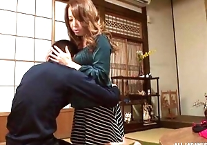 Sassy Japanese babe surrounding wonderful boobs pleasuring unintended guy relative to POV