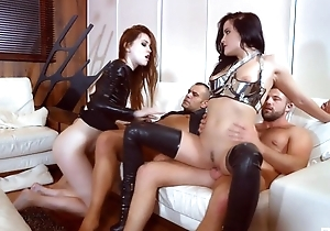 Four nymphomaniac sluts get roughly fucked up transmitted to alert to range