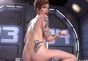 Tattooed busty Milf having it away machine