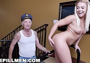 BLUE Wimp MEN - Young Kenzie Unfledged Gets Fucked By A Couple Be expeditious for Dirty Elderly Men