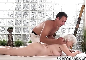 Horny granny Norma needs young fast bushwa exceeding a massage table