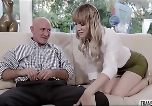 Sassy  Transsexual Lena Kelly bangs enduring on the couch