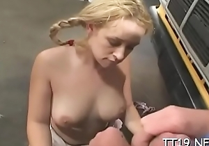 Schoolgirl with miniature tits receives gangbanged hard encircling scads of poses